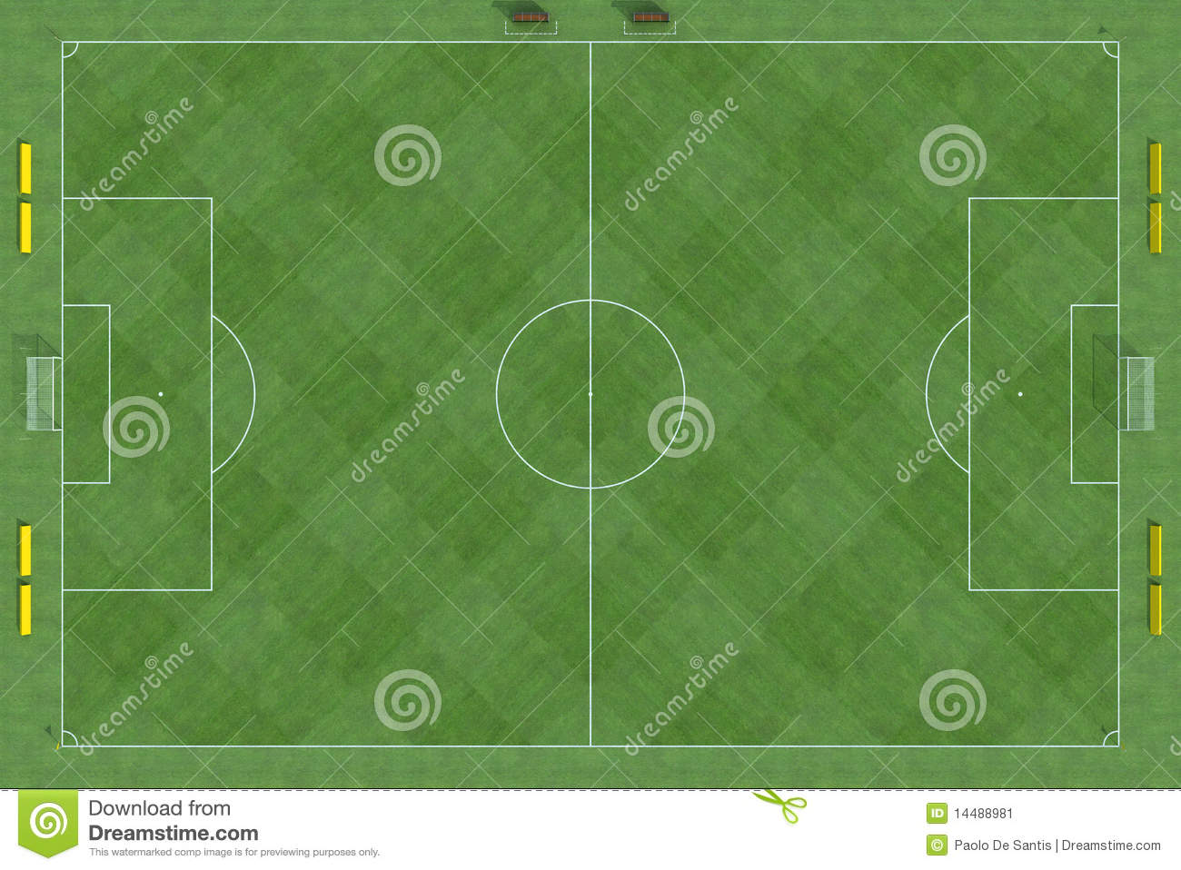 Top View Of Soccer Field Stock Illustration. Illustration
