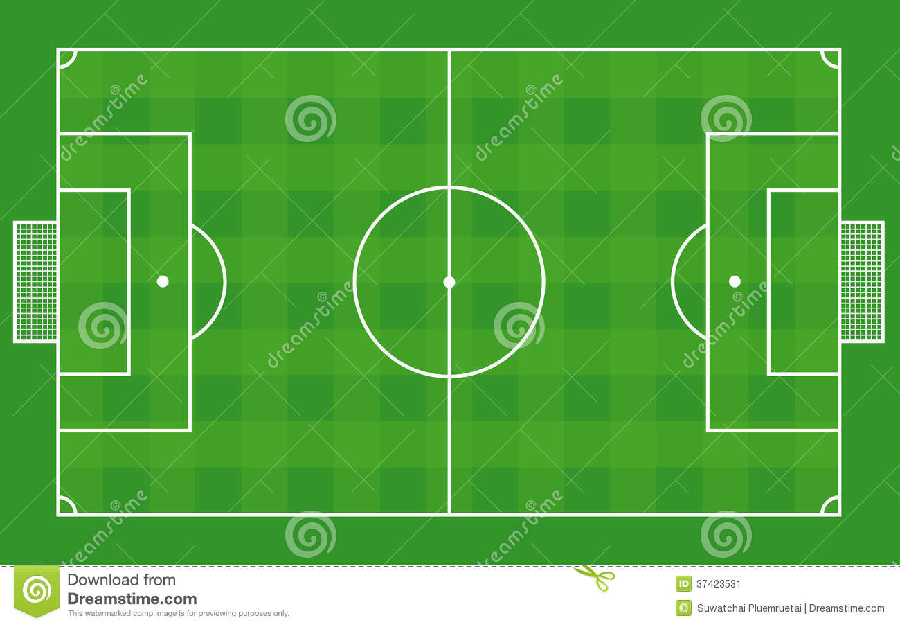 Top View Of Soccer Field Or Football Field Vector Stock