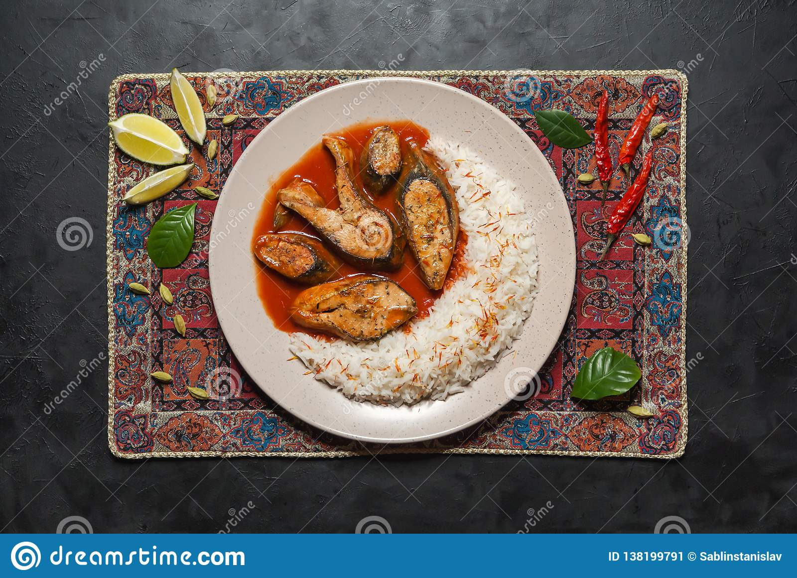 Top View Of Spicy And Hot Bengali Fish Curry Stock Image Image Of Coconut Food 138199791