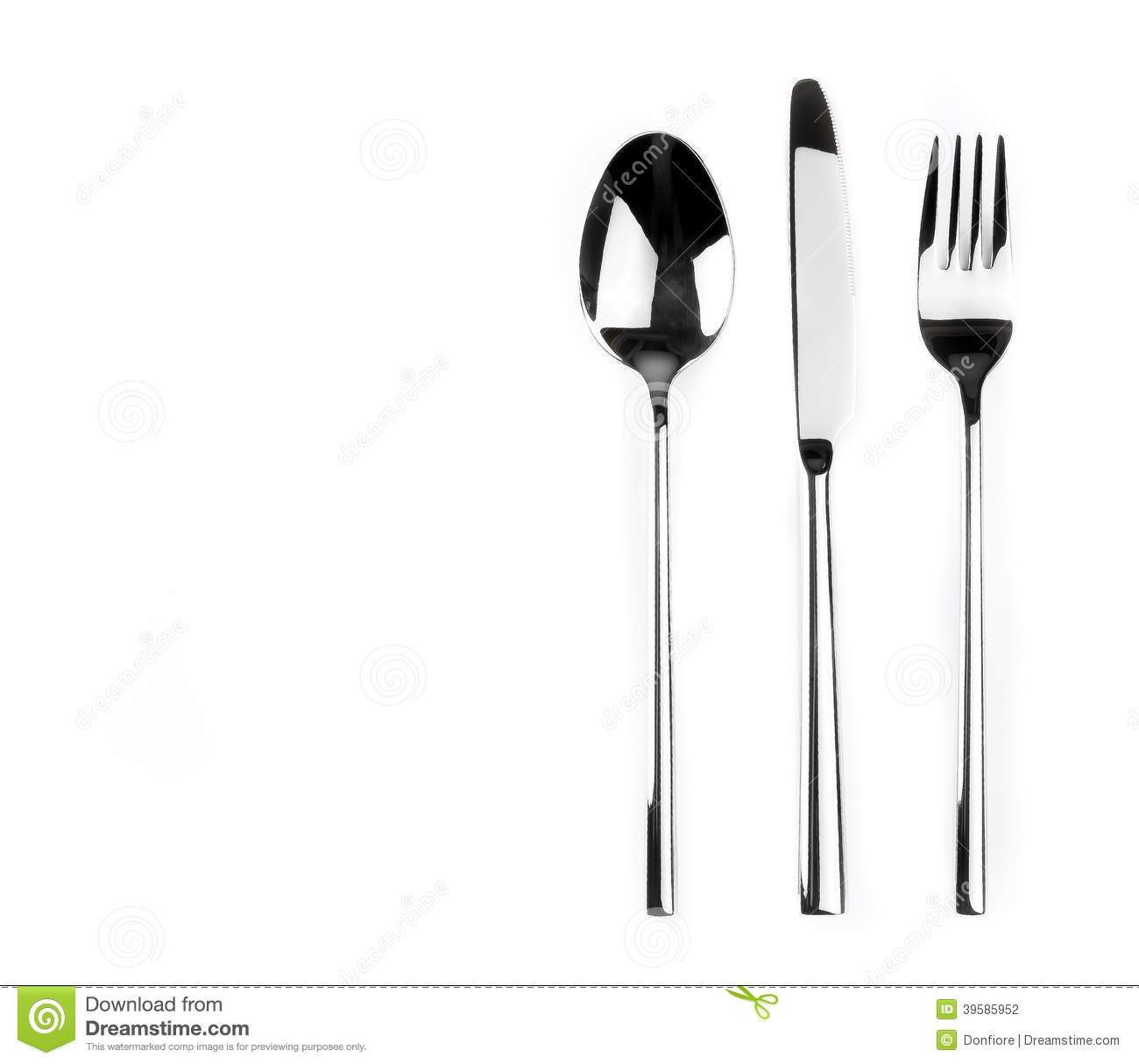 Top Of View Of Spoon Knife And Fork Isolated On White Background