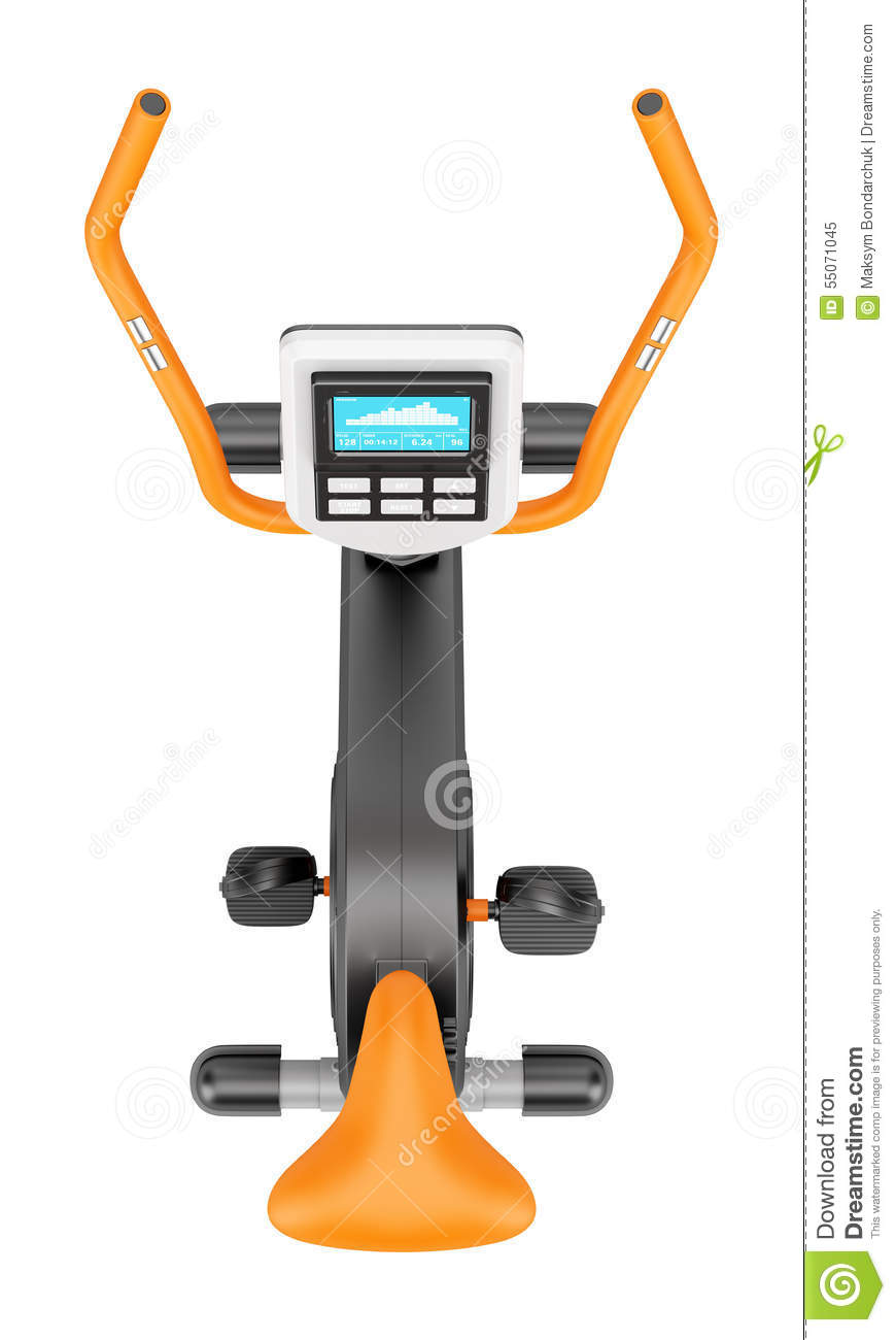 Top View Of Stationary Exercise Bike Isolated On White