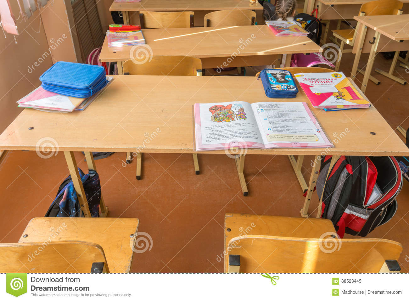 Download Top View Of A Student In The Ordinary Russian School Desk Chairs  School Supplies Editorial