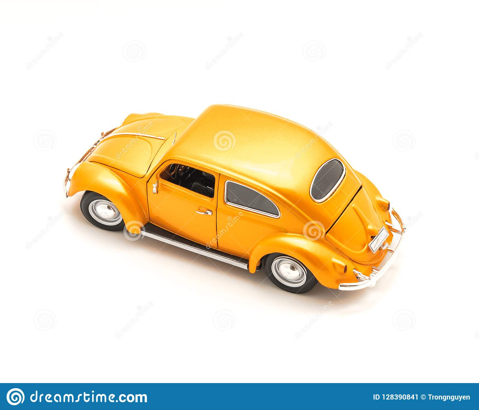 Top View Studio Shot Small Orange Toy Car Isolated On White Stock