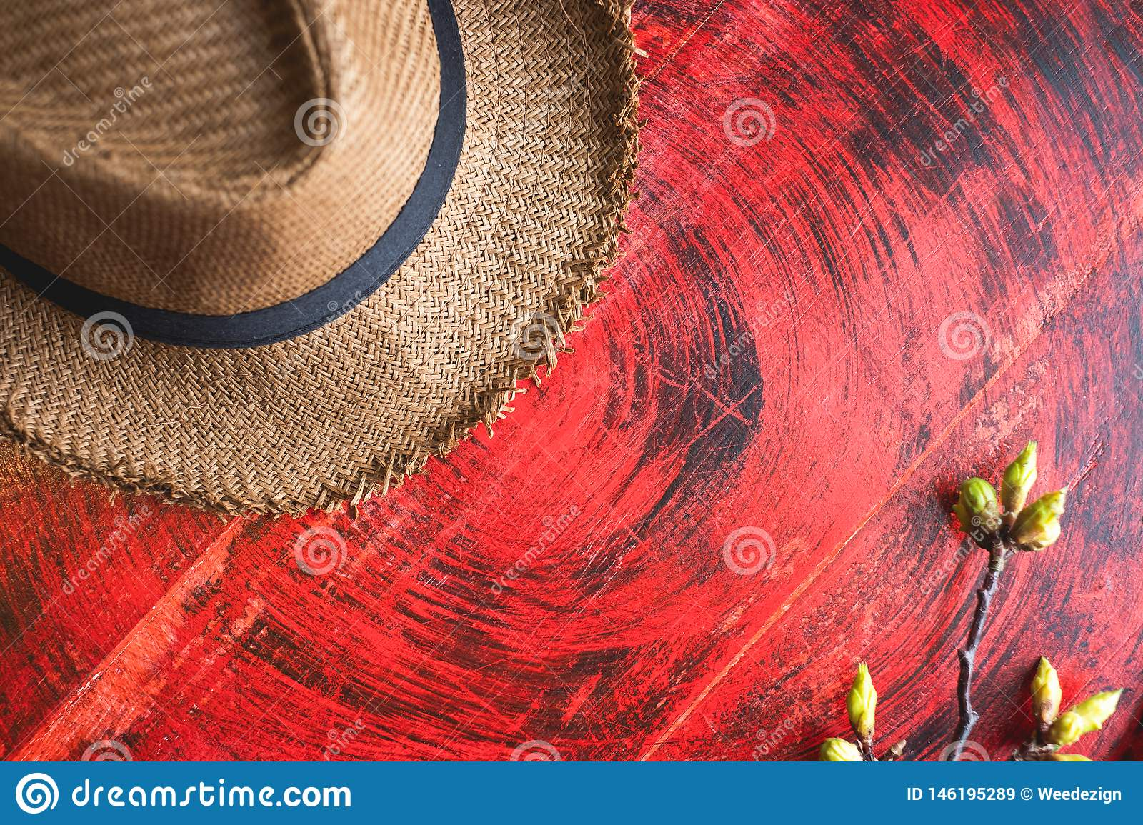 Top view of Summer brown panama straw hat with flower plant on rustic red wood table.travel concept.copy space for adding text