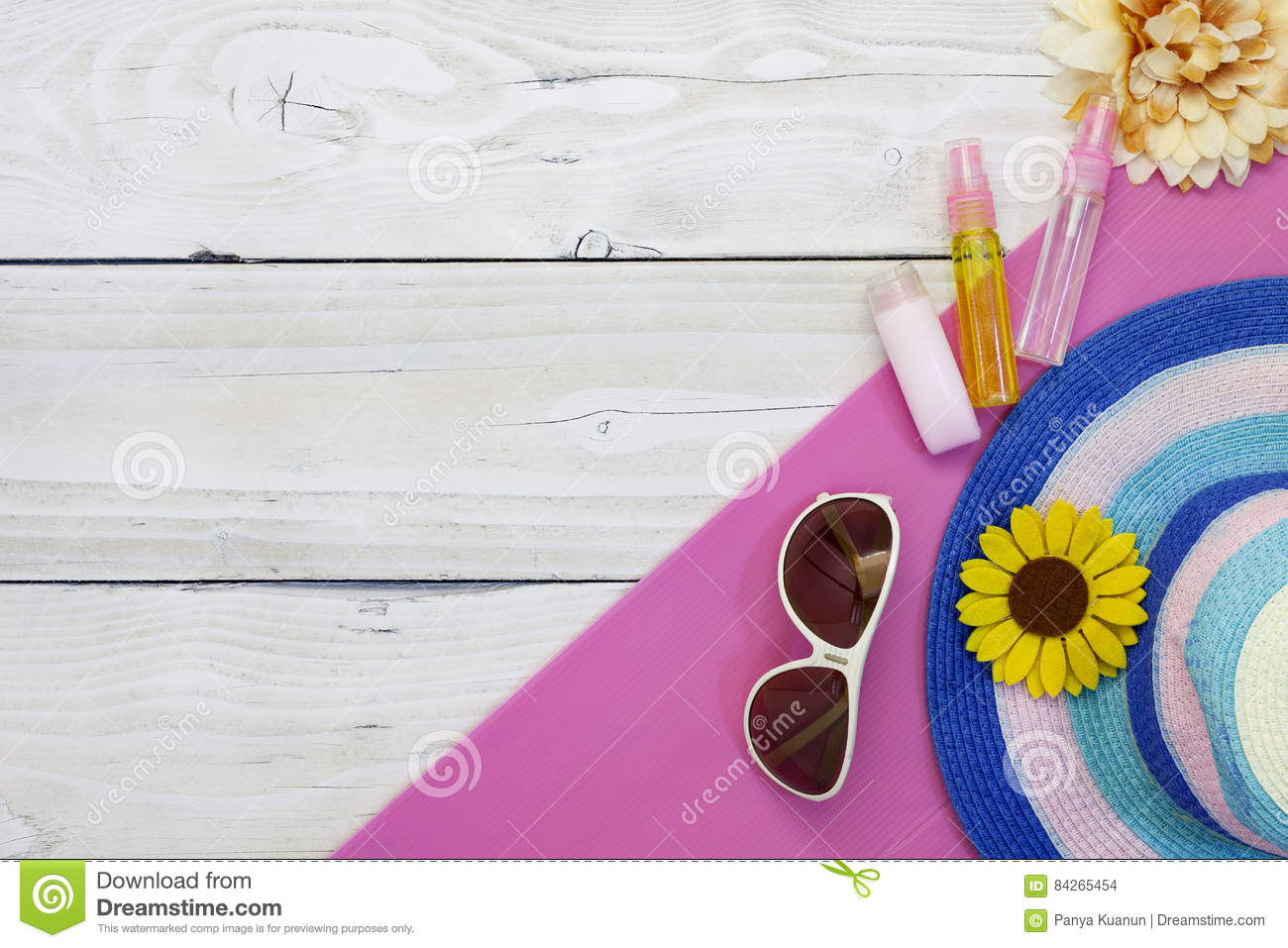 Top view of Summer holiday background,Beach accessories on white