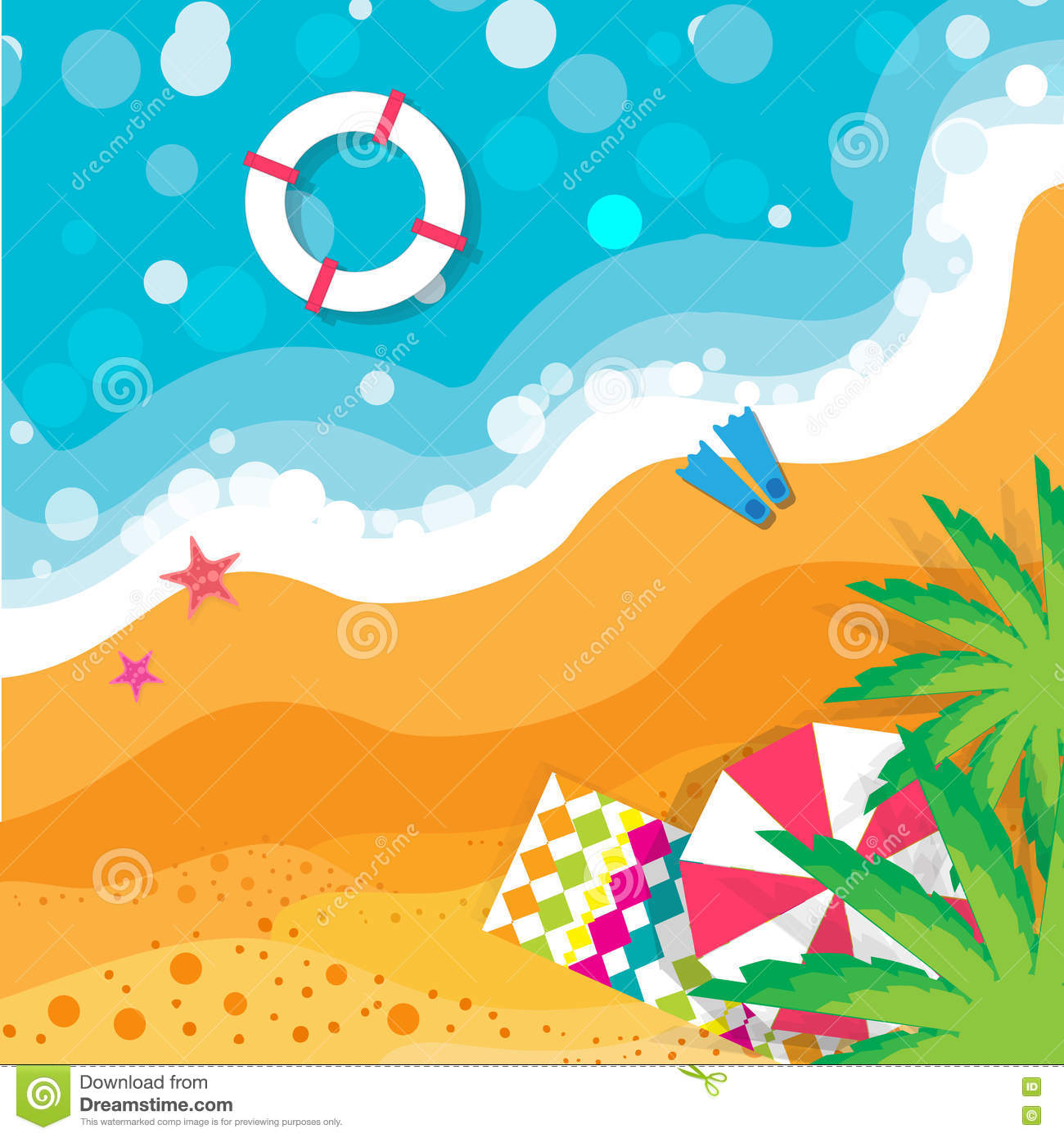 Top View Summer Vacation Beach Rest Time To Travel Sea Waves Sand And Umbrella Palm Vector Design Background Objects Illustrations