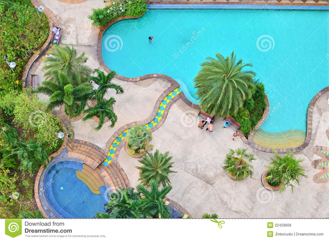 Top View Of Swimming Pool Stock Image Image Of Leisure
