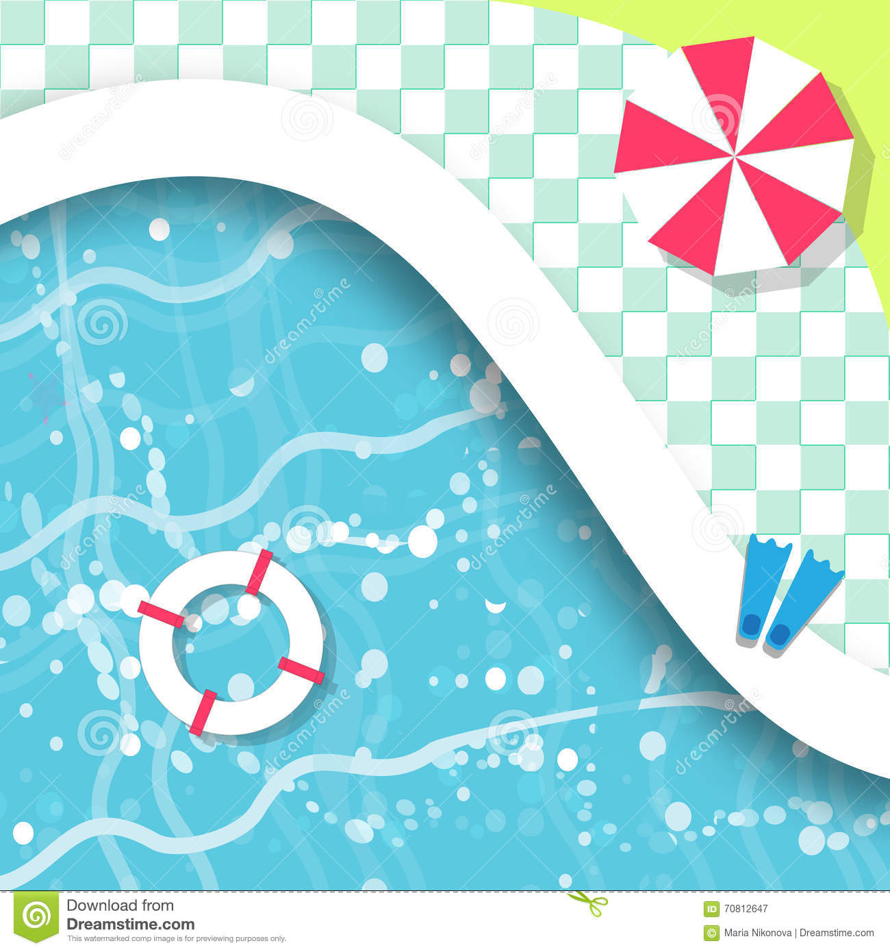 Swimming Pool Top View Summer Time Holiday Vacation Clear Water Vector Illustration