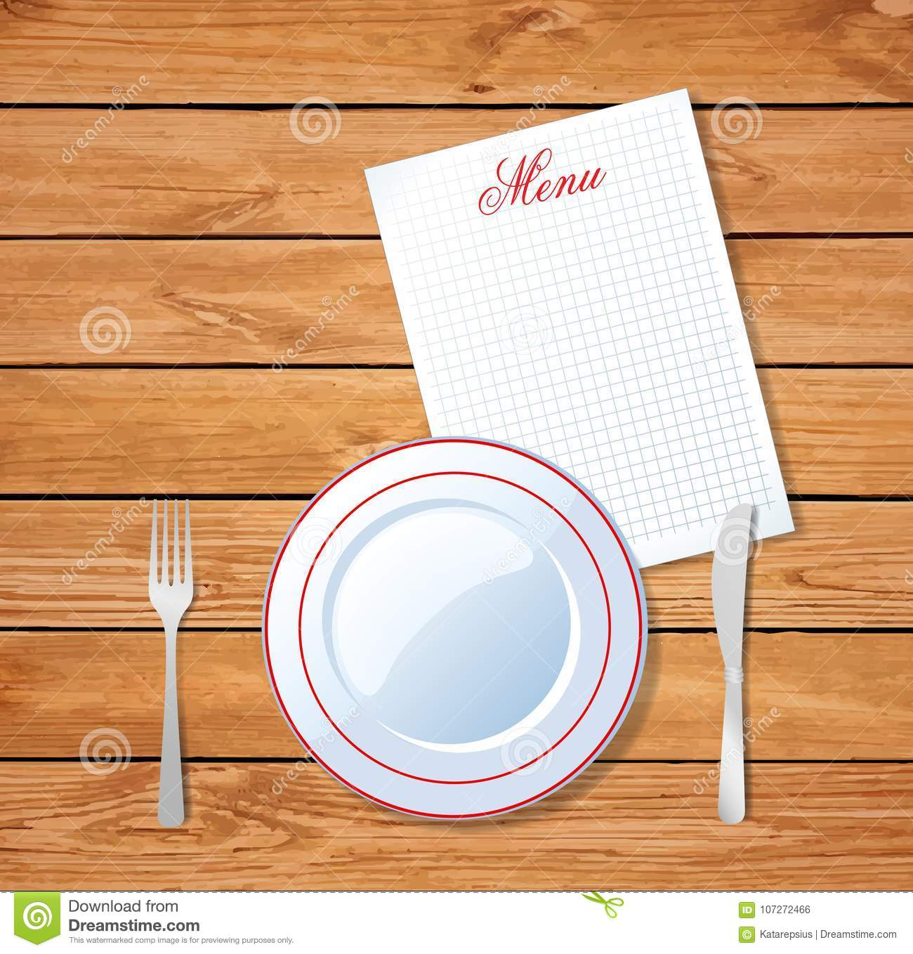Top View Of Table Setting For Dinner Template For Design Stock