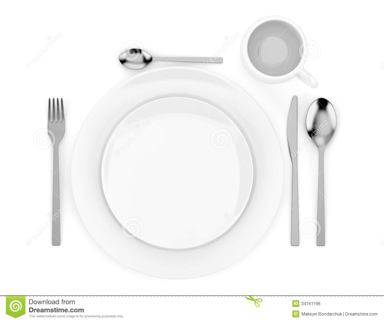Top View Of Table Setting Isolated On White Royalty Free Stock Image