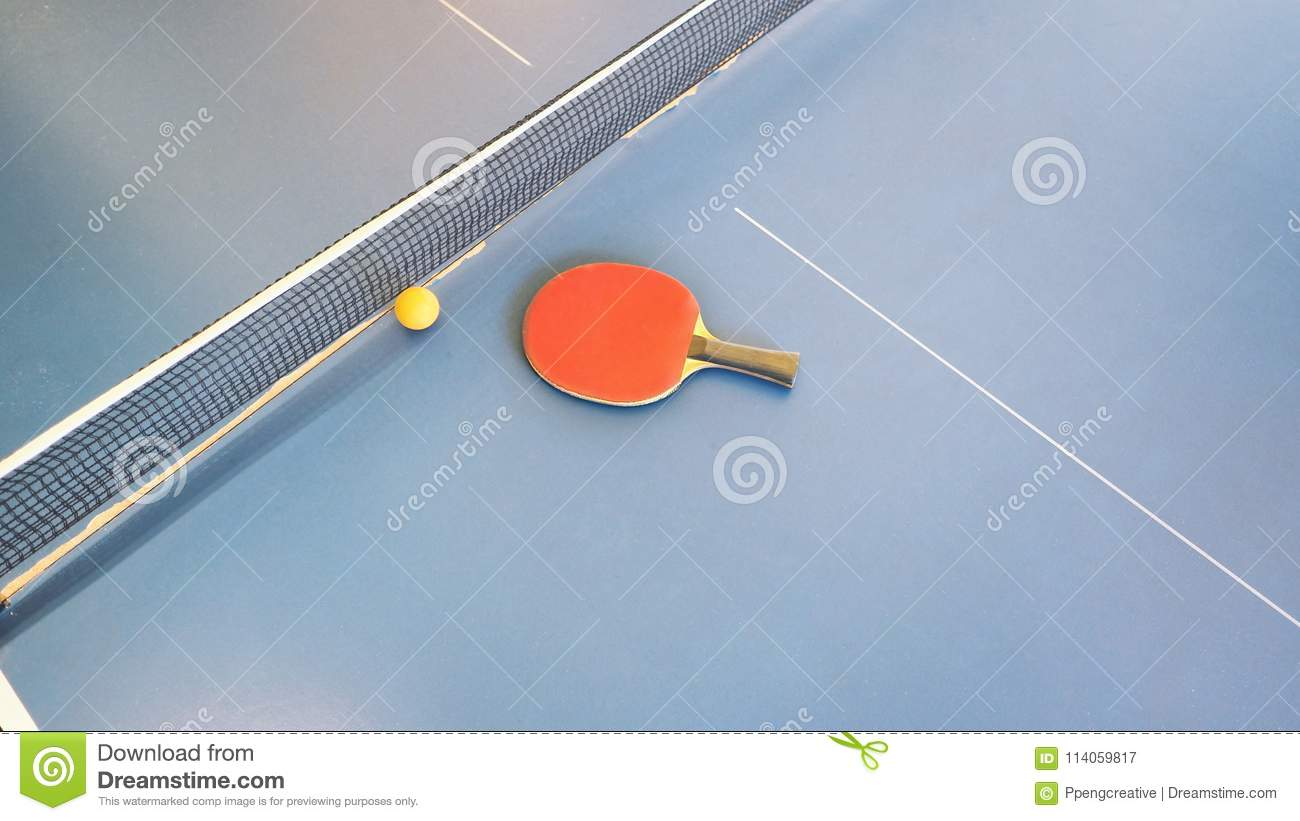 Top View Of Table Tennis Or Ping Pong Table. Equipment, Racket.  Royalty Free Stock Photo. Download Top View Of Table Tennis ...