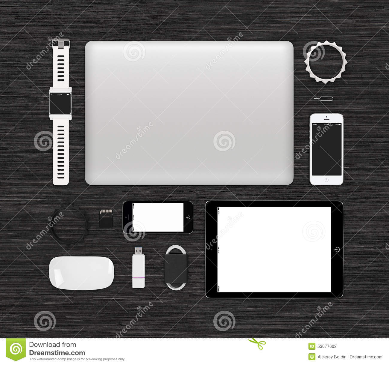 Top View Of Tech Gadgets Mock Up For Branding Identity On