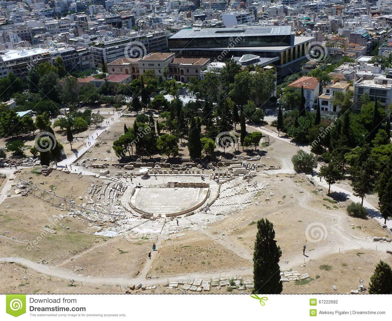 top view of theatre of dionysus in athens stock photo image of