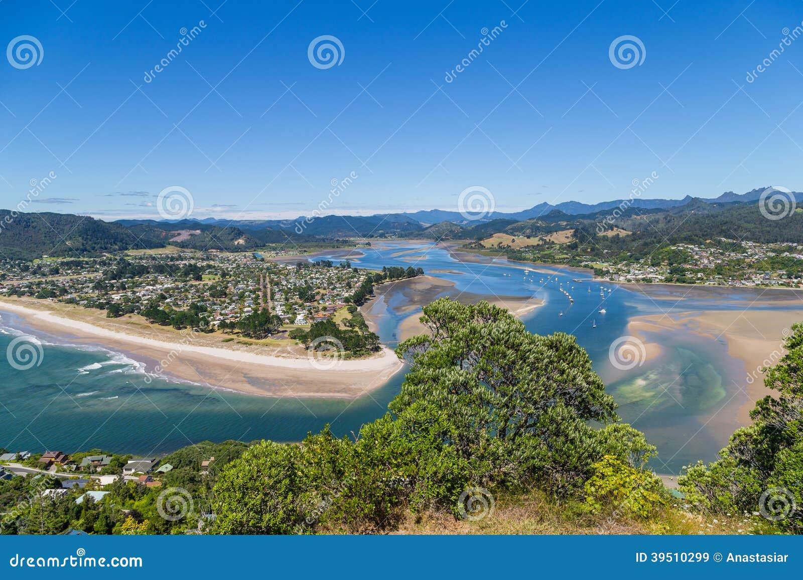 Top view to Tairua town and river, Coromandel peninsula, New Zealand