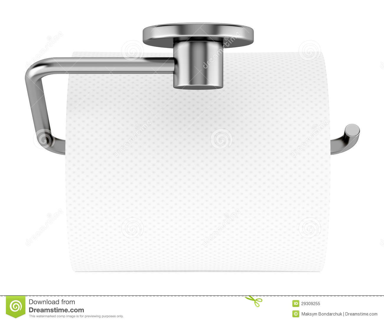 Top View Of Toilet Paper On Holder Isolated On White Stock