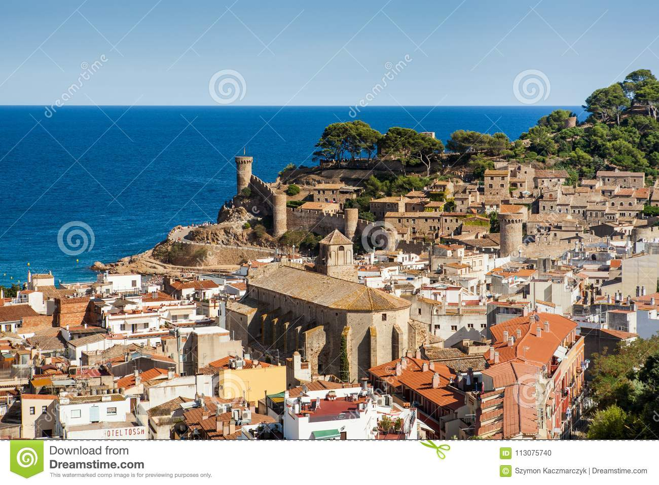 Top View Of The Town And Castle In Tossa De Mar City On The Costa