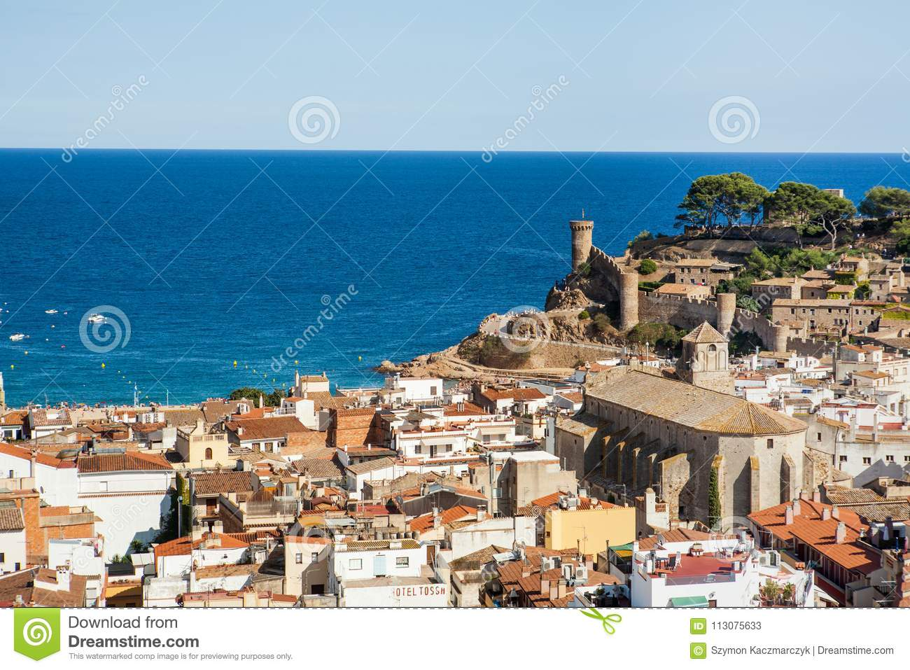Tossa De Mar View Of The Castle Tower And City Walls Fortress On