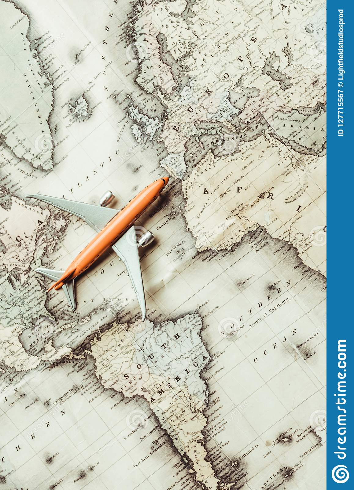 Top View Toy Plane Map Stock Image Image Of Style