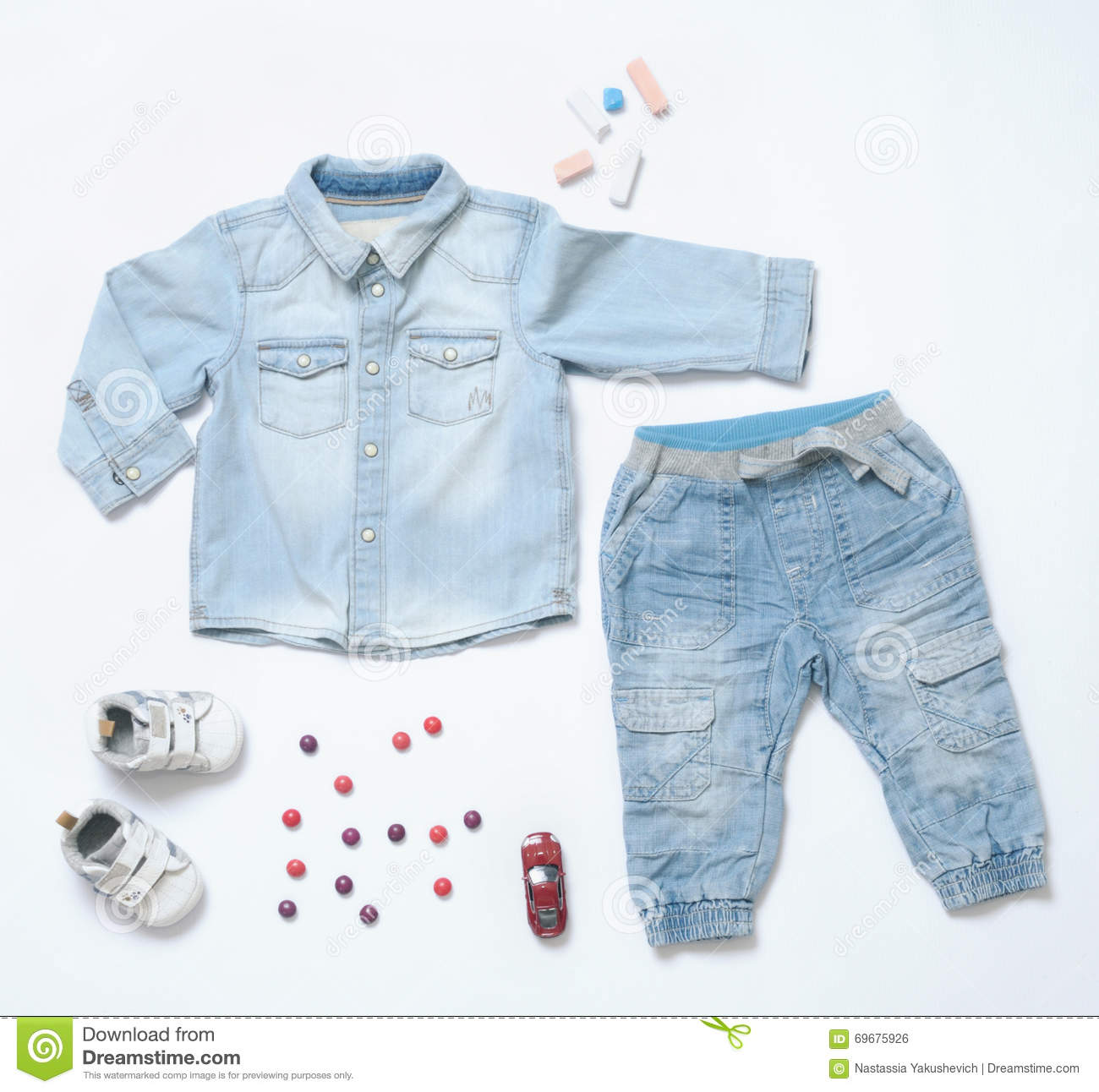 Top View Trendy Denim Look Baby Boy Clothes With Toy