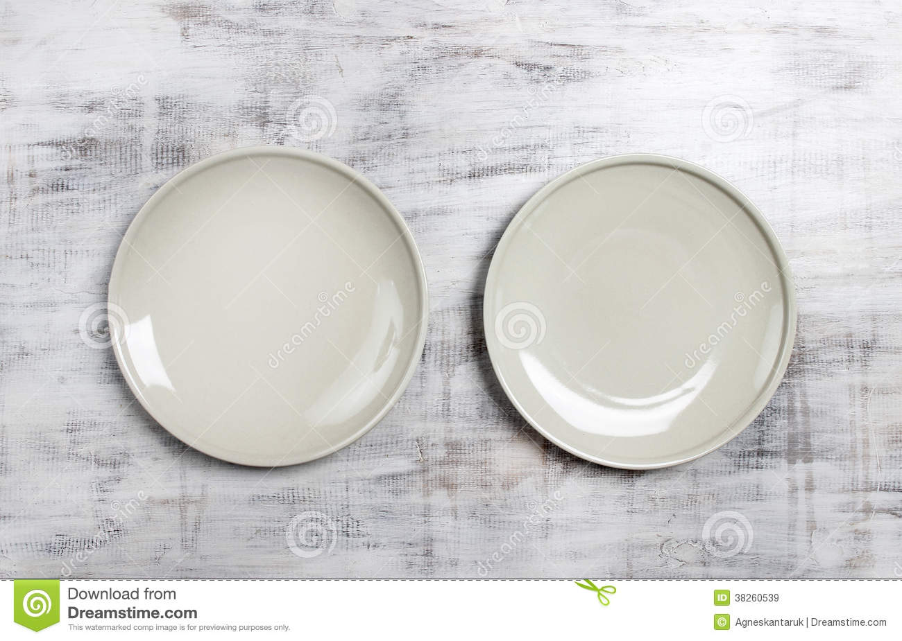 Top View Of Two Empty Plates Royalty Free Stock Images