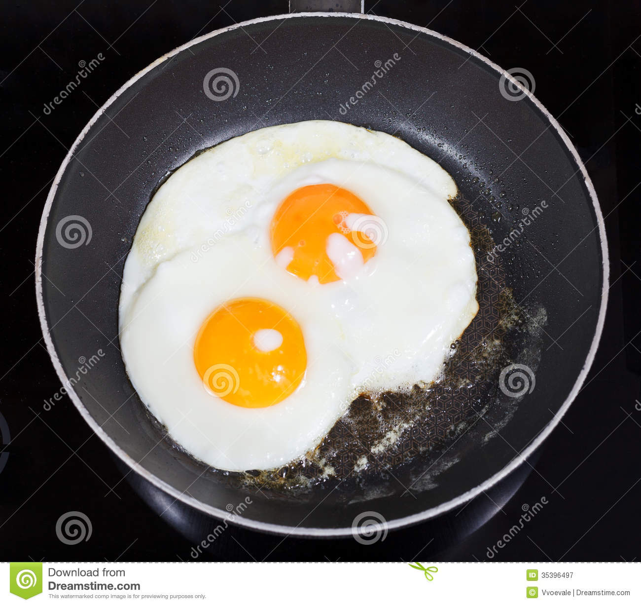Top View Of Two Fried Eggs In Frying Pan Royalty Free
