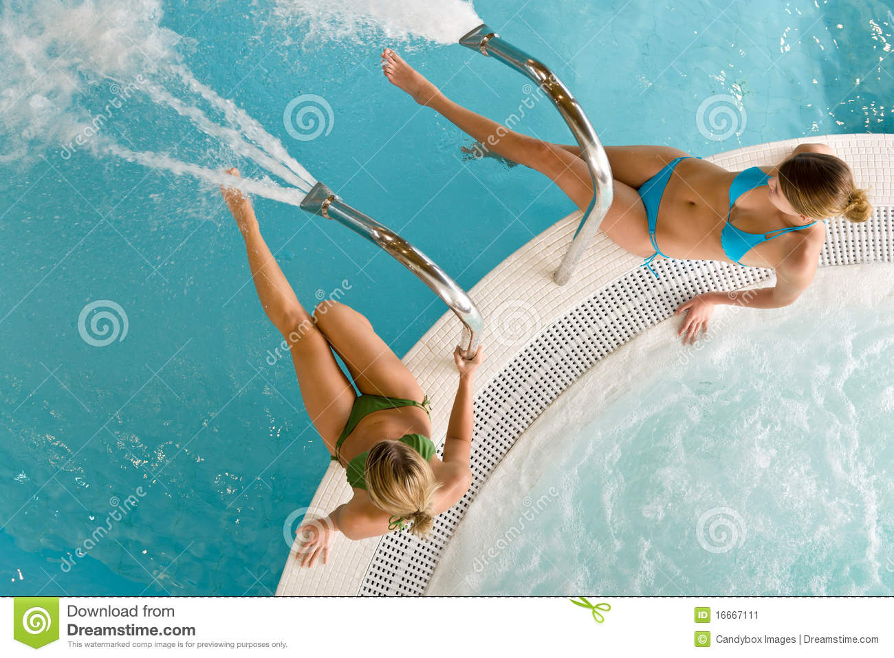 Top View Two Woman Relax In Swimming Pool Stock Image