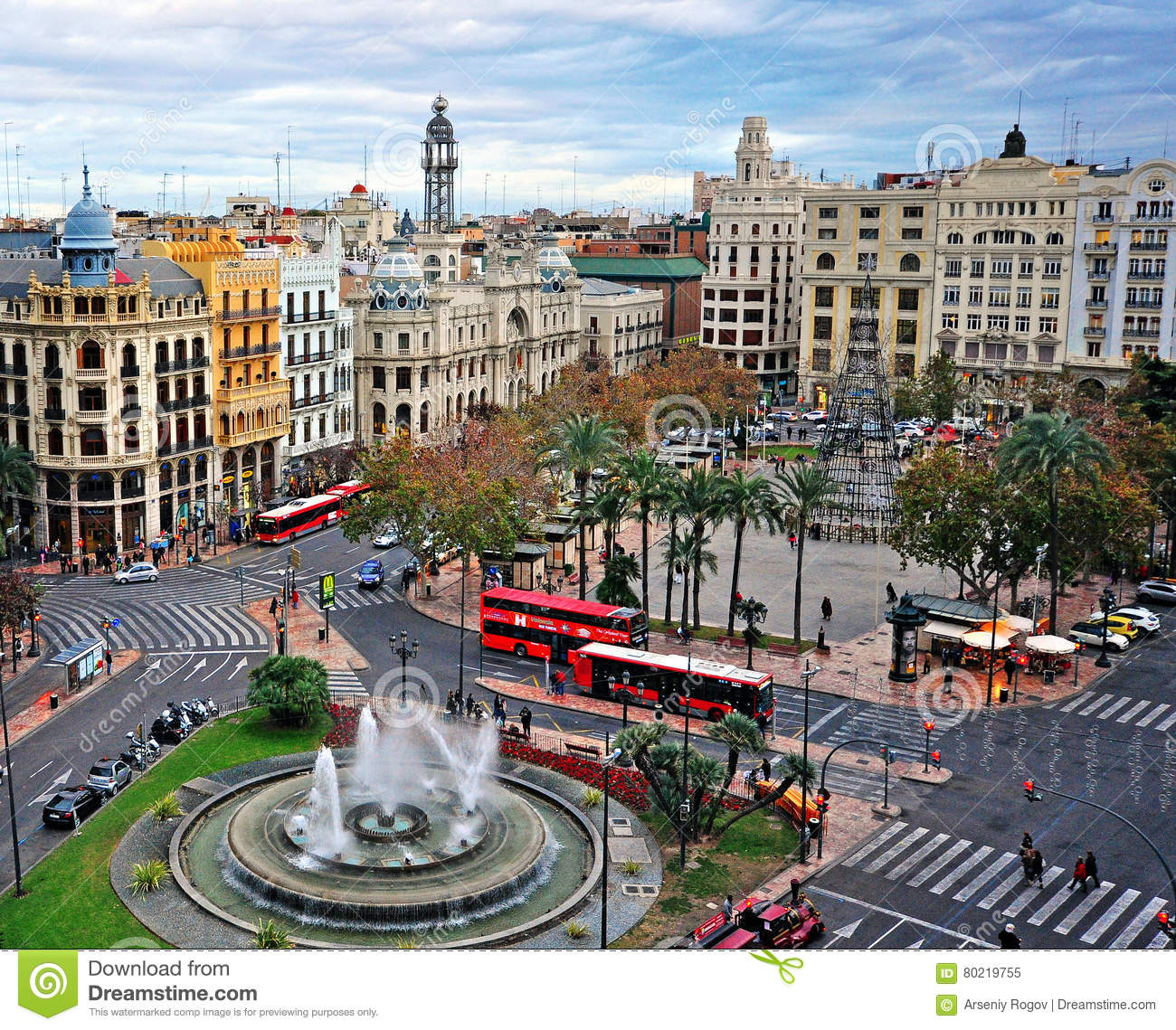 Valencia Town Center: Top View Valencia City Centre, Spain Editorial Image