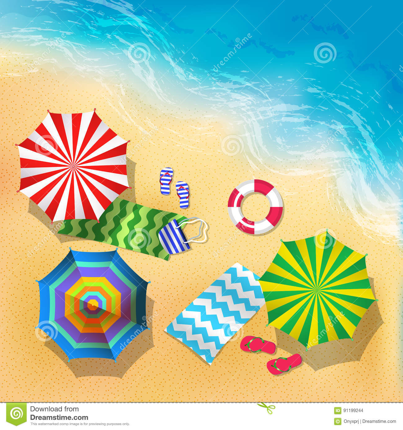 Top View Vector Illustration Of Beach, Sand And Umbrella