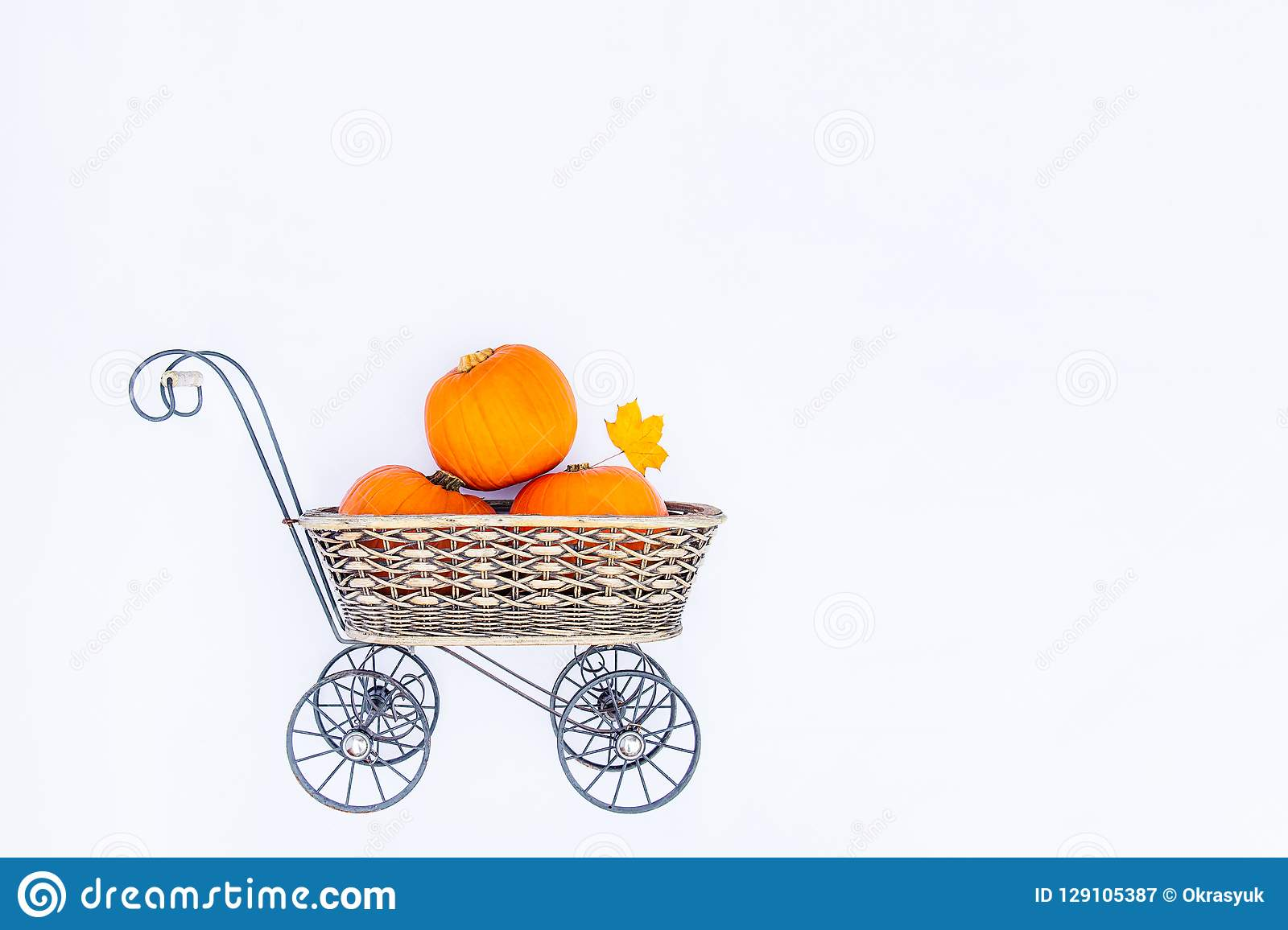 Top view Vintage Garden carriage basket with ripe pumpkins on the white background isolated . Autumn harvest, thanksgiving, hallow