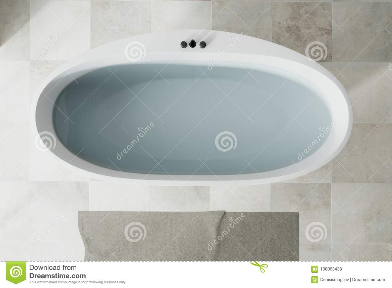 White Bathroom White Tub Top View Stock Illustration - Illustration ...