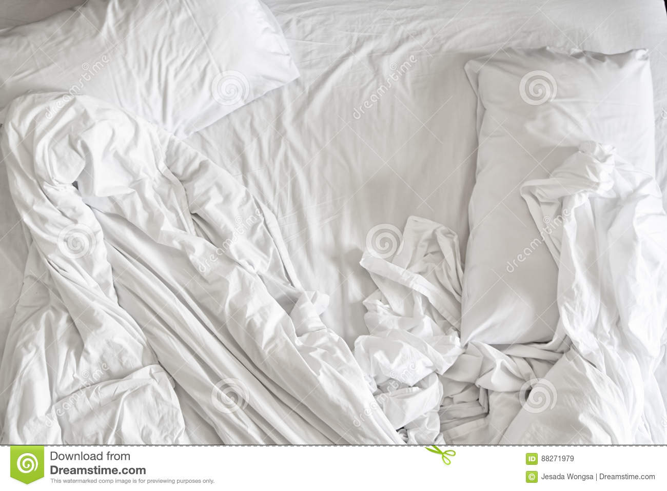 White bed sheets texture - Top View Of White Bedding Sheets And Pillow White Fabric Wrinkled Texture