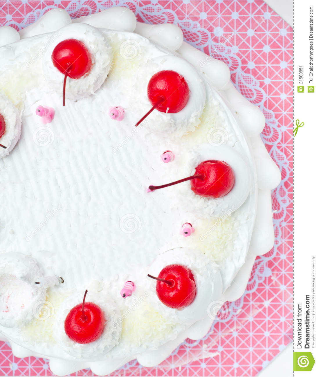 Top View Of White Cake With Cherry Topping Stock Image ...