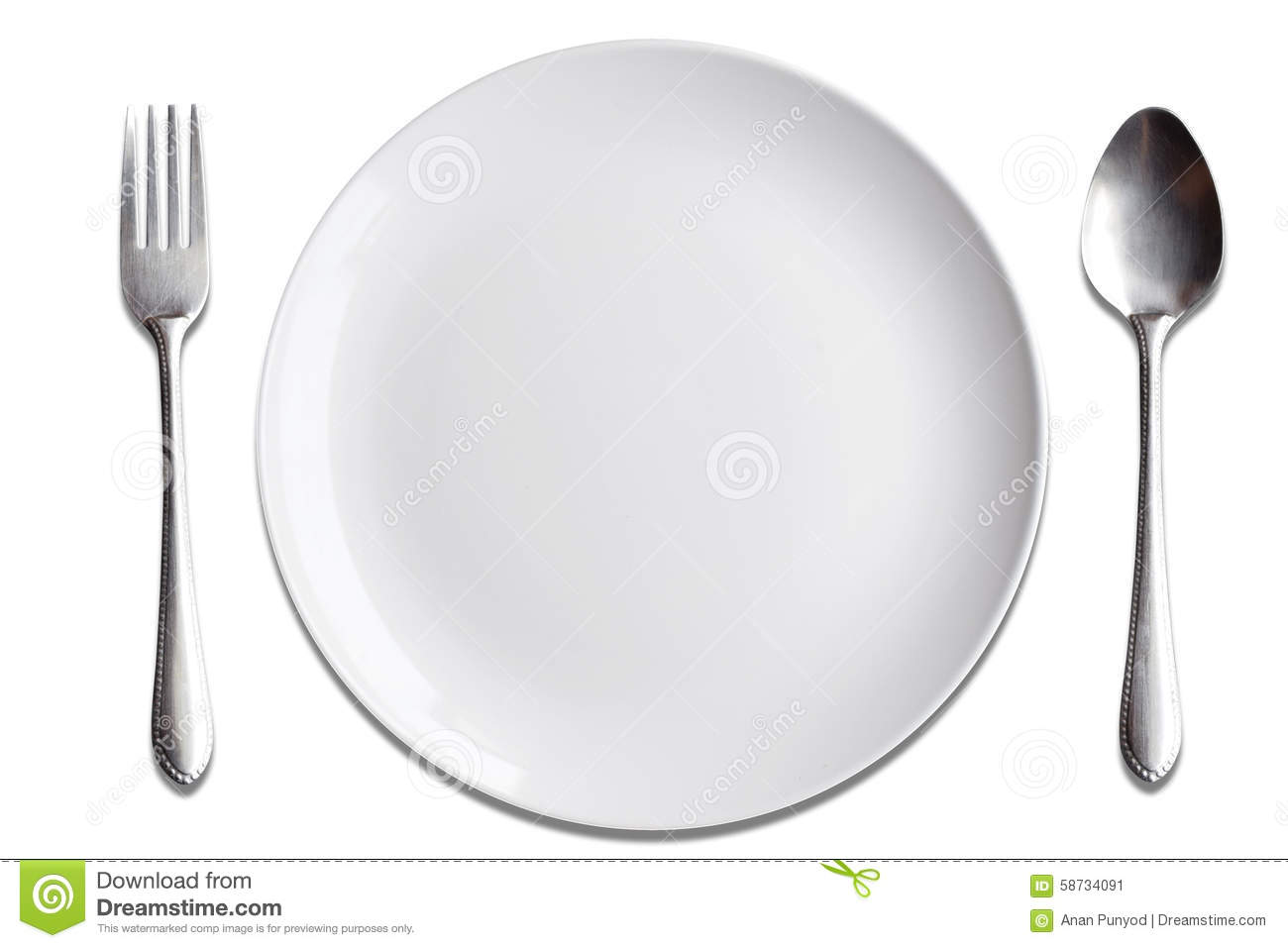 Top View White Dish Spoon Fork On Wood Background Stock