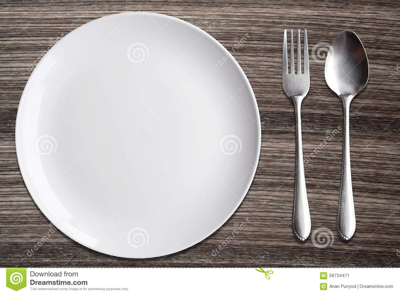 Top View White Dish Spoon Fork On Wood Background Stock  : top view white dish spoon fork wood background 58734471 from www.dreamstime.com size 1300 x 957 jpeg 161kB