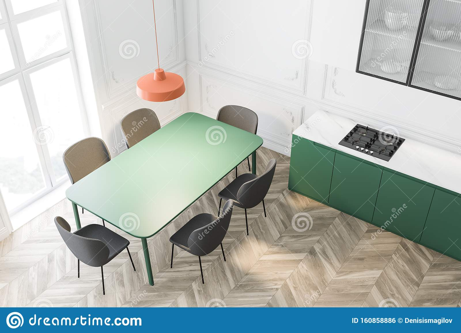 Top View Of White Kitchen With Green Table Stock Illustration Illustration Of Contemporary Construction 160858886