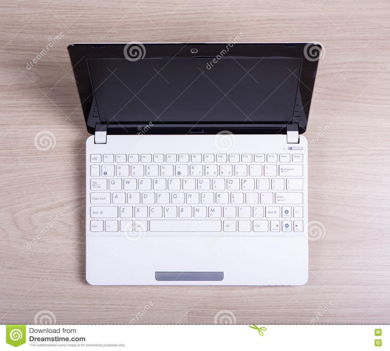 Top View Of White Laptop On The Table Stock Photo Image 72112642