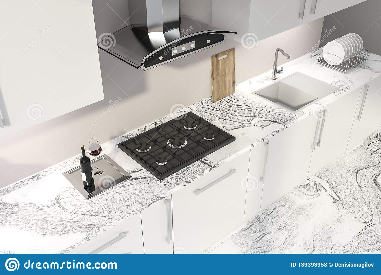 Top View Of Kitchen Countertop And Sink Stock Illustration ...