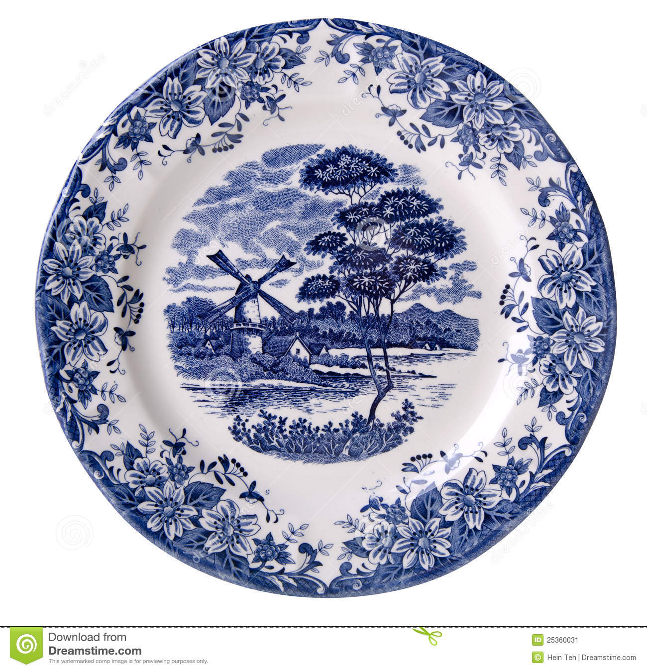 Blue And White Plates top view white plate with printed blue flowers stock image - image