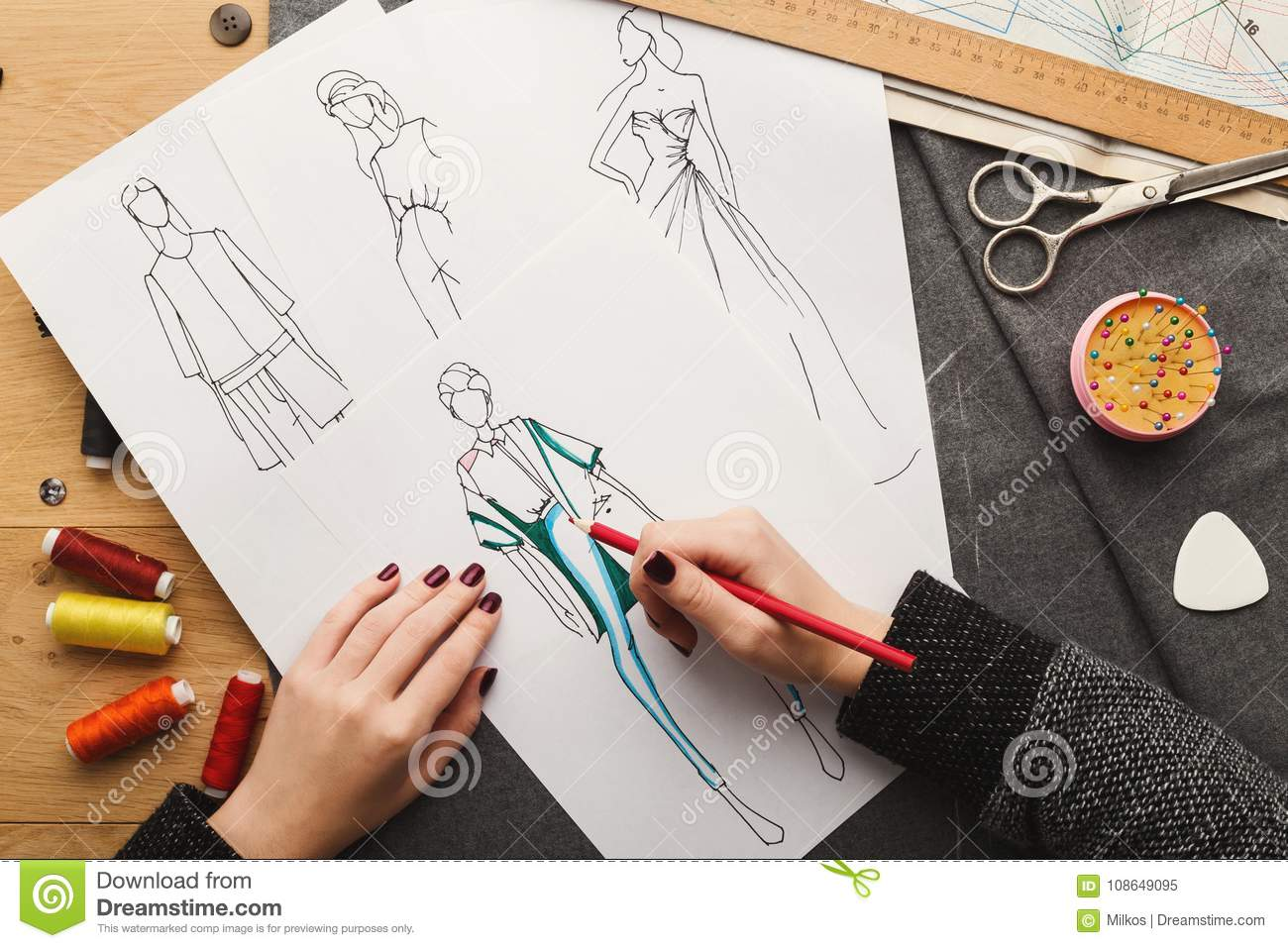 Top View On Woman Designer Drawing Clothes Sketches Stock Image Image Of Cloth Creating 108649095