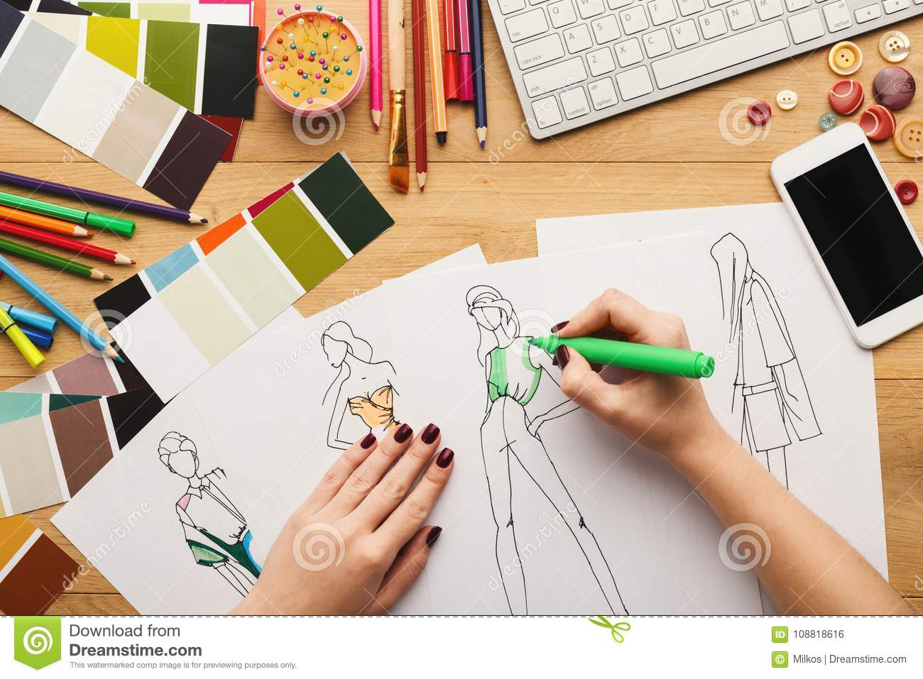 Top View On Woman Designer Drawing Clothes Sketches Stock Photo Image Of Illustration Dress 108818616