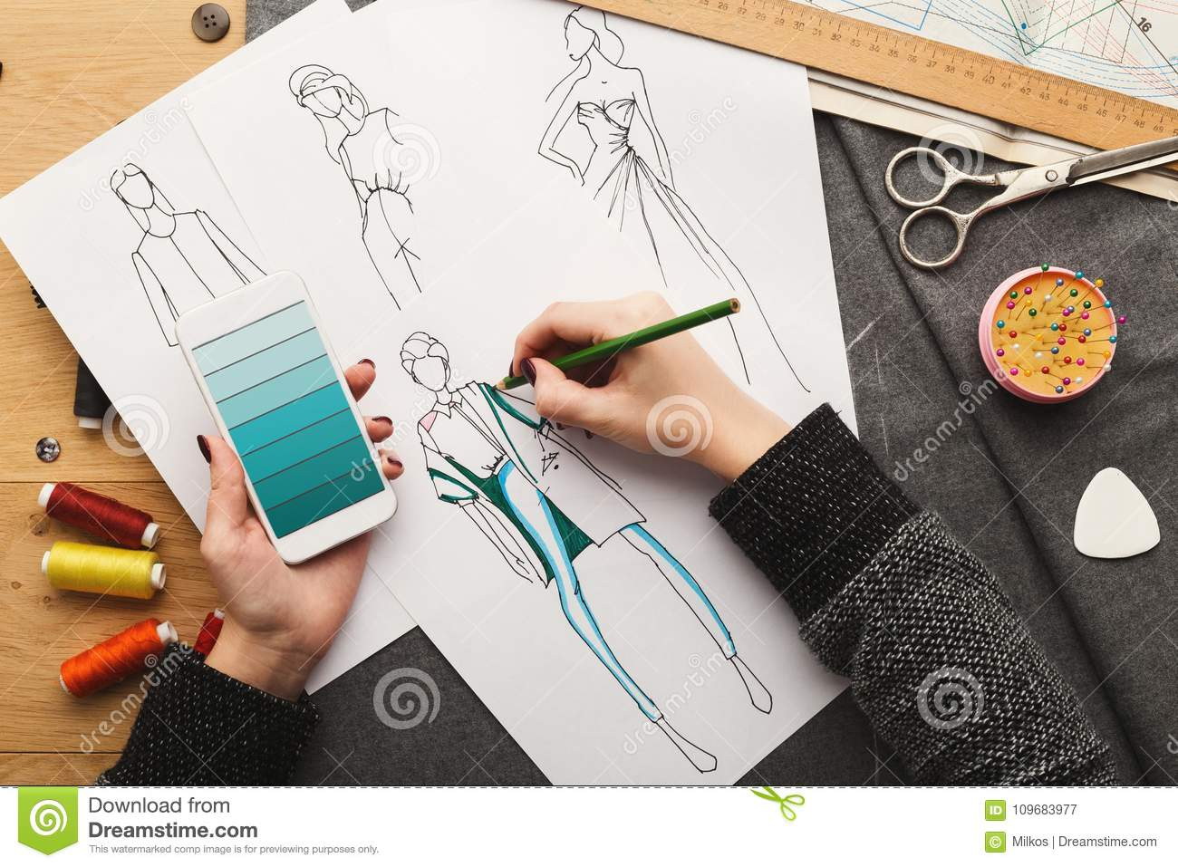 Top View On Woman Designer Drawing Clothes Sketches Stock Image Image Of Artist Clothing 109683977