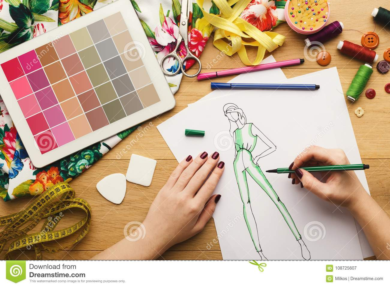 Top View On Woman Designer Drawing Clothes Sketches Stock Image Image Of Fashion Digital 108725607