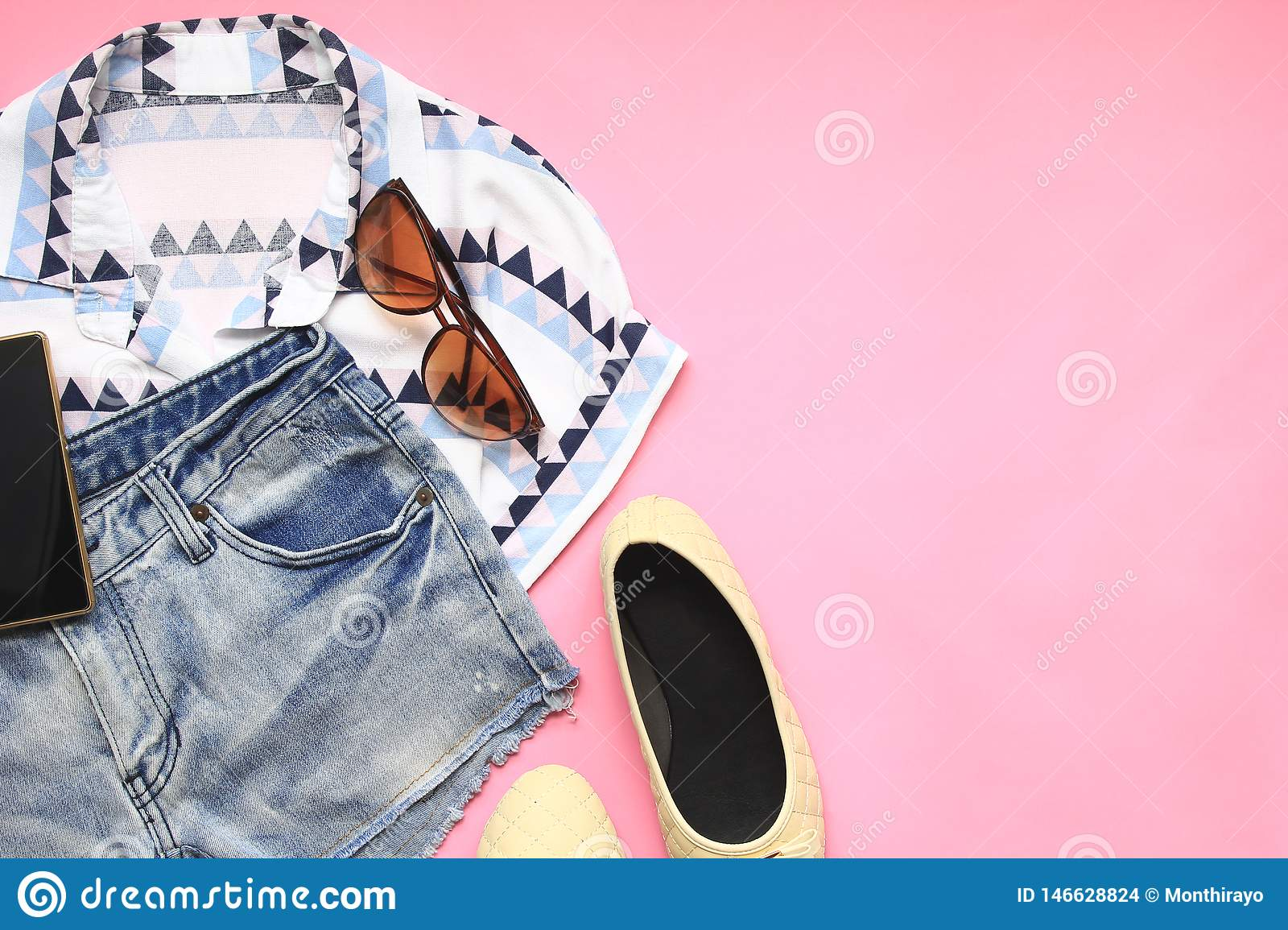 Top View Of Women Fashion Stylish Clothes Of Travel Accessories On Colorful Background Stock Photo Image Of Dress Casual 146628824