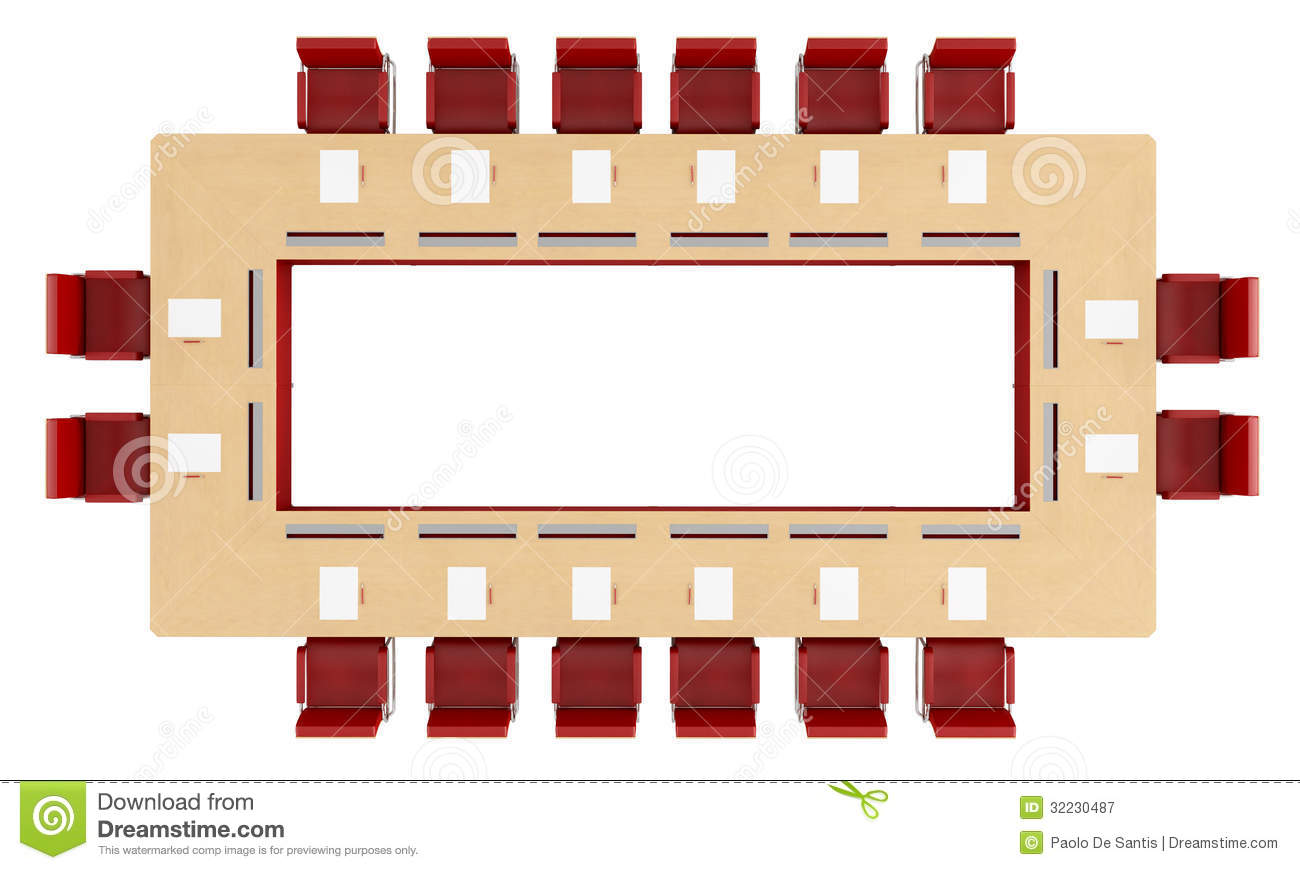 Top View Of A Wood Meeting Table Royalty Free Stock Photography