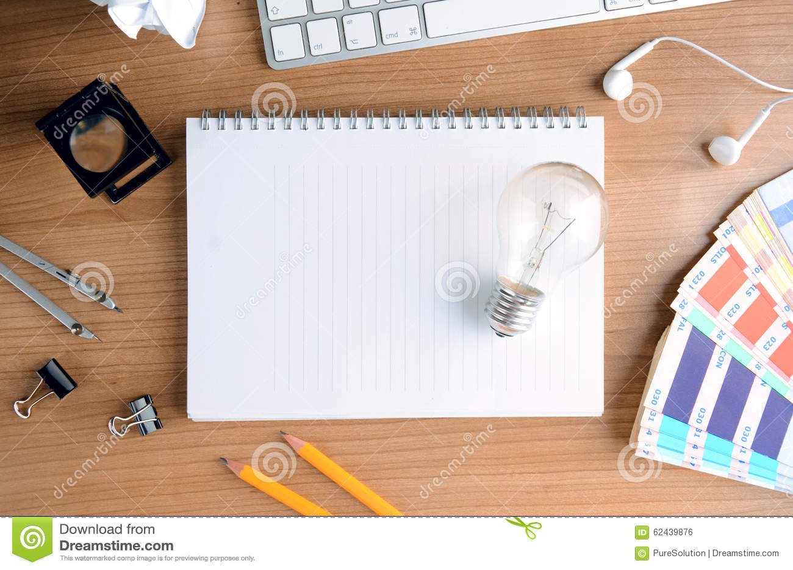 Top view of wooden desktop with design equipment stock for Top view design