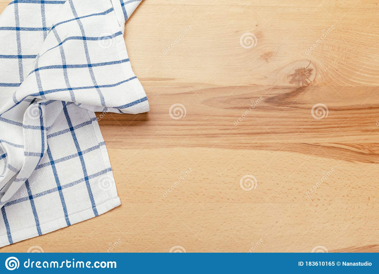 Top View On A Wooden Table With A Linen Kitchen Towel Or Textile Napkin Stock Image Image Of Menu Backdrop 183610165