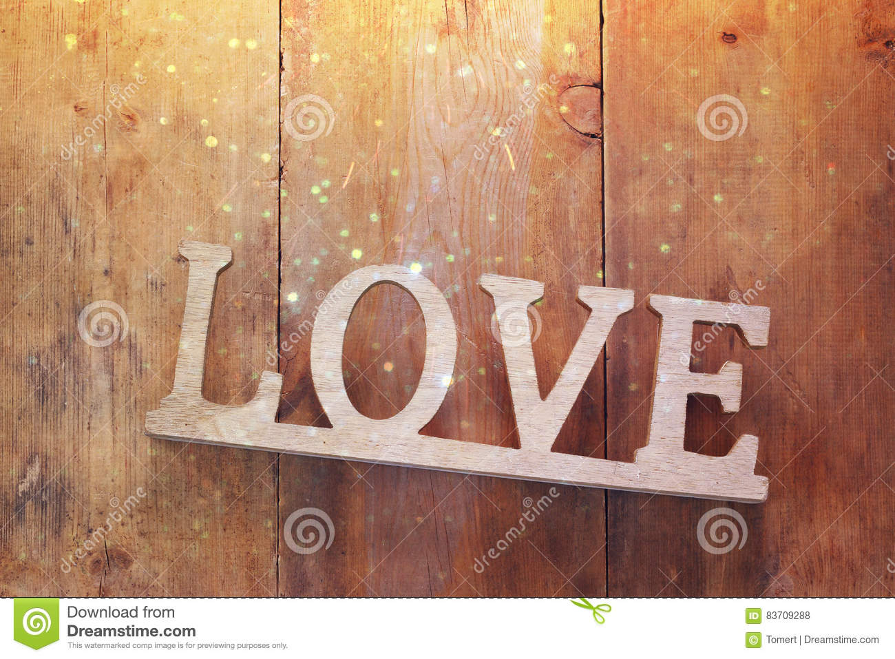 Top View Of Word LOVE From Wooden Letters Stock Photo