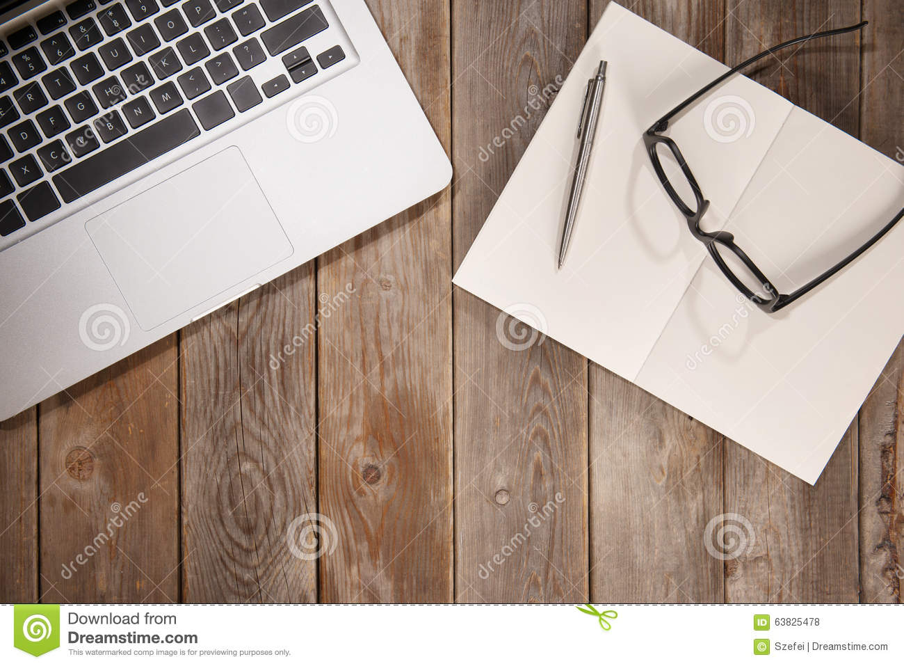top view work desk stock photo image of laptop diary 63825478. Black Bedroom Furniture Sets. Home Design Ideas