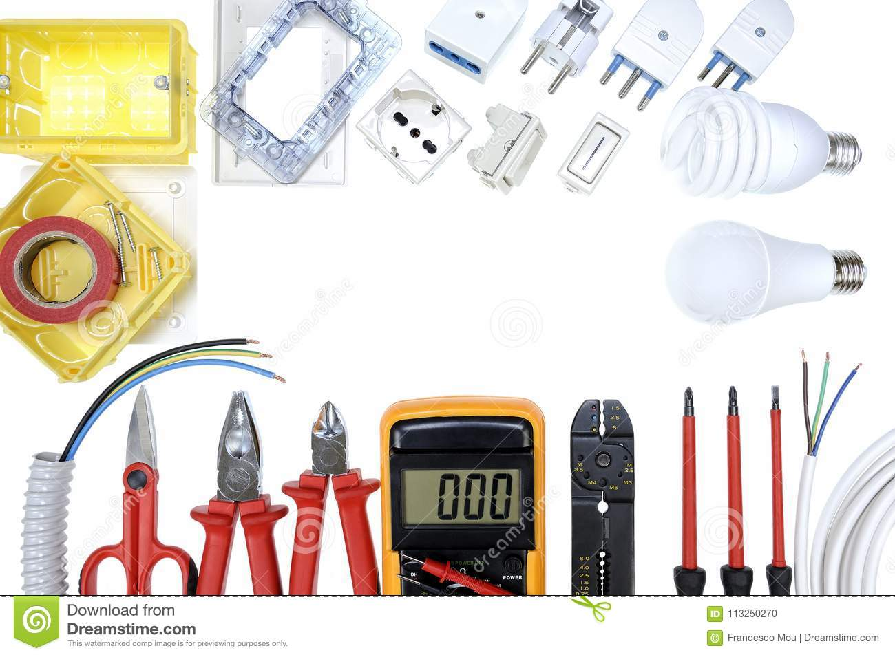 Top View Of Work Tools And Components For Residential Electrical ...