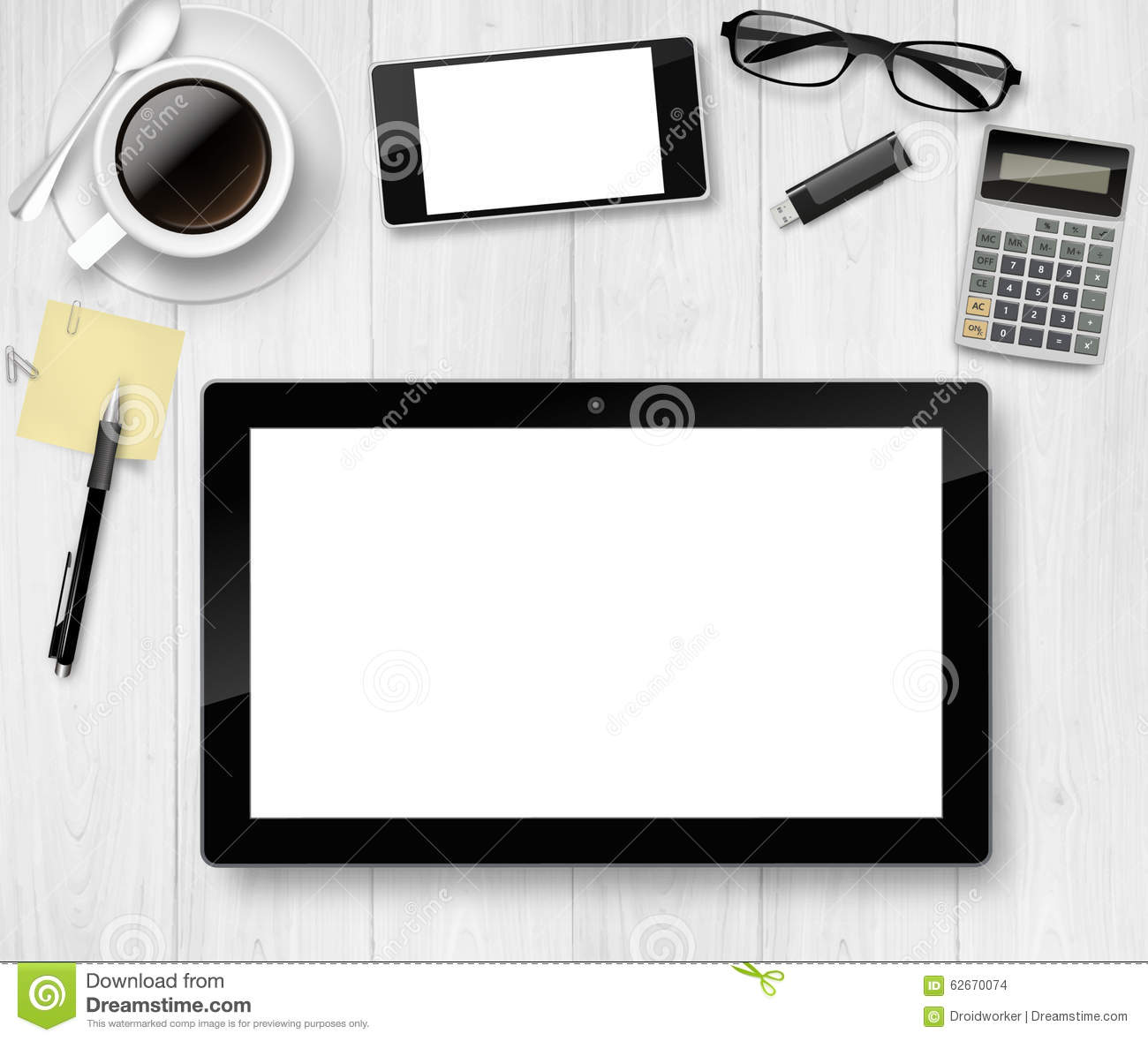 Top View Of Working Place Elements On White Table Stock Illustration